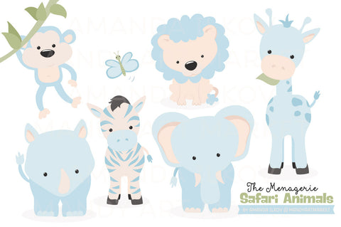 Safari Animals Clipart in Soft Blue by Amanda Ilkov - Mandy Art Market - 1