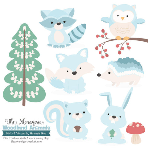 Woodland Animals Clipart in Soft Blue by Amanda Ilkov - Mandy Art Market - 1