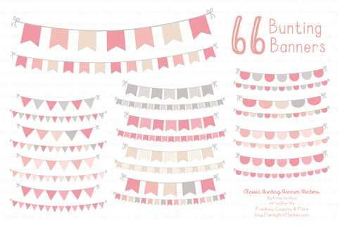 Classic Bunting Banner Clipart in Soft Pink by Amanda Ilkov - Mandy Art Market - 1