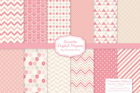 Geometric Digital Papers in Soft Pink by Amanda Ilkov - Mandy Art Market - 1