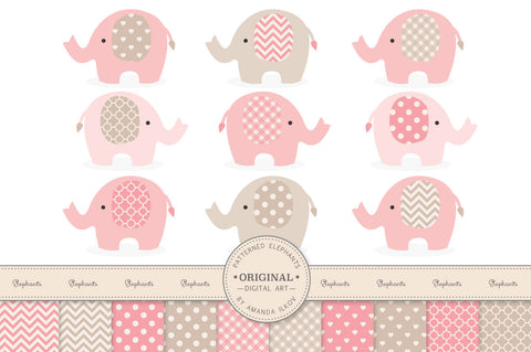 Elephant Clipart & Digital Papers in Soft Pink by Amanda Ilkov - Mandy Art Market
