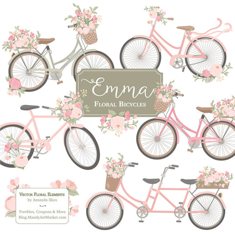 Floral Bicycles Clipart in Soft Pink by Amanda Ilkov - Mandy Art Market - 1