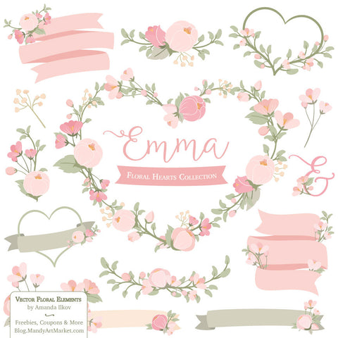 Floral Heart Wreaths Clipart in Soft Pink by Amanda Ilkov - Mandy Art Market - 1