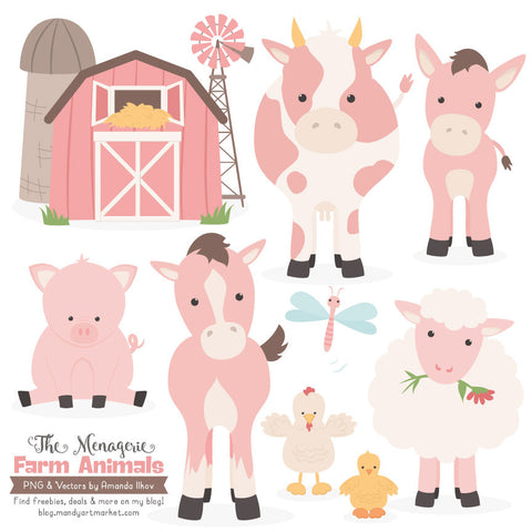 Farm Animals Clipart in Soft Pink by Amanda Ilkov - Mandy Art Market - 1
