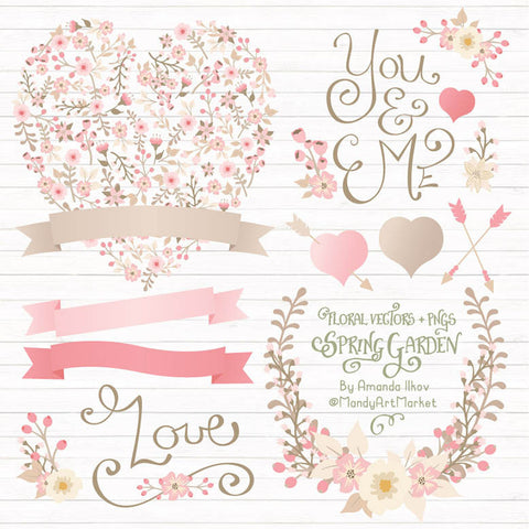 Floral Heart Clipart in Soft Pink by Amanda Ilkov - Mandy Art Market - 1