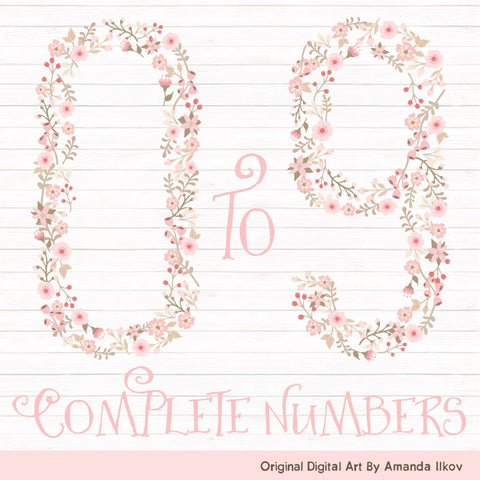 Floral Numbers in Soft Pink by Amanda Ilkov - Mandy Art Market - 1