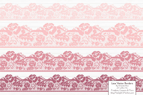 Lace Border Clipart in Soft Pink by Amanda Ilkov - Mandy Art Market - 1