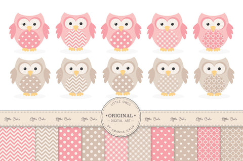 Owl Clipart & Digital Papers in Soft Pink by Amanda Ilkov - Mandy Art Market - 1
