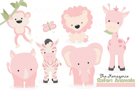 Safari Animals Clipart in Soft Pink by Amanda Ilkov - Mandy Art Market - 1