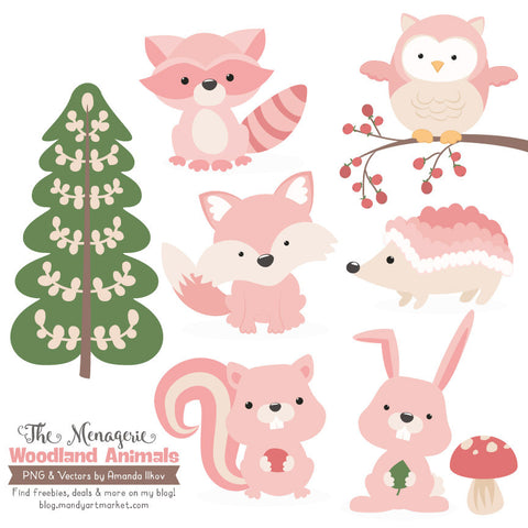 Woodland Animals Clipart in Soft Pink by Amanda Ilkov - Mandy Art Market - 1