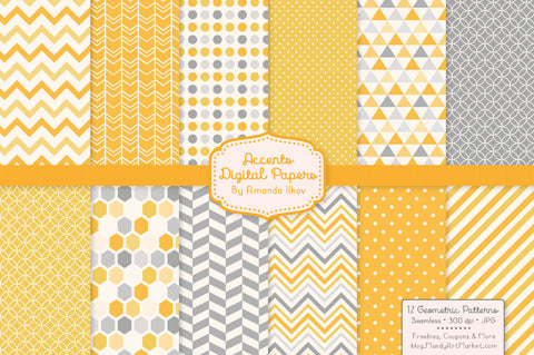 Geometric Digital Papers in Sunshine by Amanda Ilkov - Mandy Art Market - 1