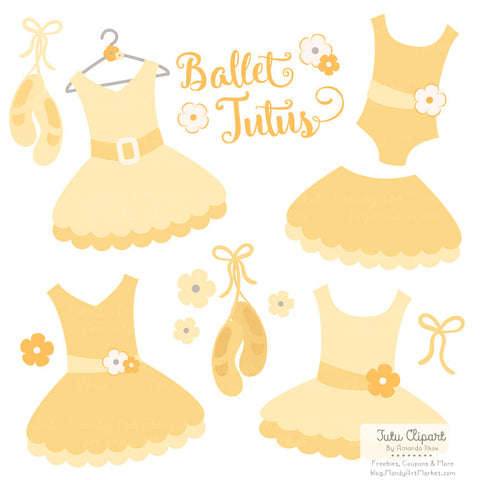 Ballet Tutu Clipart in Sunshine by Amanda Ilkov - Mandy Art Market - 1