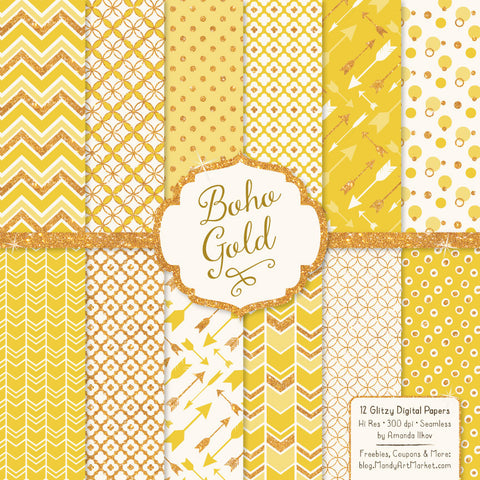 Gold Glitter Digital Paper in Sunshine Yellow by Amanda Ilkov - Mandy Art Market - 1
