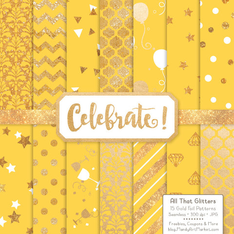 Celebrate Gold Foil Digital Papers in Sunshine by Amanda Ilkov - Mandy Art Market - 1