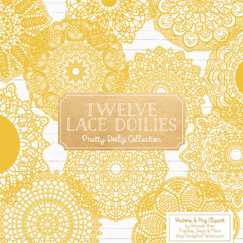 Round Lace Doilies Clipart in Sunshine by Amanda Ilkov - Mandy Art Market - 1