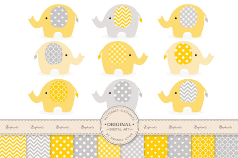 Elephant Clipart & Digital Papers in Sunshine Yellow by Amanda Ilkov - Mandy Art Market