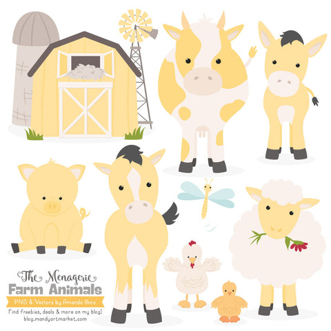 Farm Animals Clipart in Sunshine by Amanda Ilkov - Mandy Art Market - 1