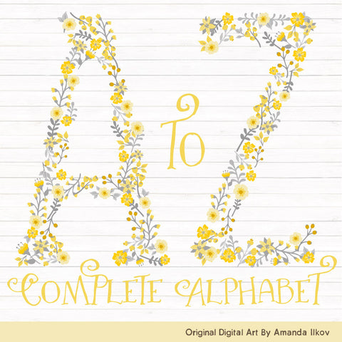 Floral Alphabet in Sunshine Yellow by Amanda Ilkov - Mandy Art Market - 1