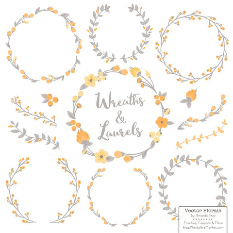 Floral Wreaths & Laurels in Sunshine by Amanda Ilkov - Mandy Art Market - 1