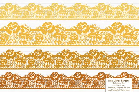 Lace Border Clipart in Sunshine Yellow by Amanda Ilkov - Mandy Art Market - 1