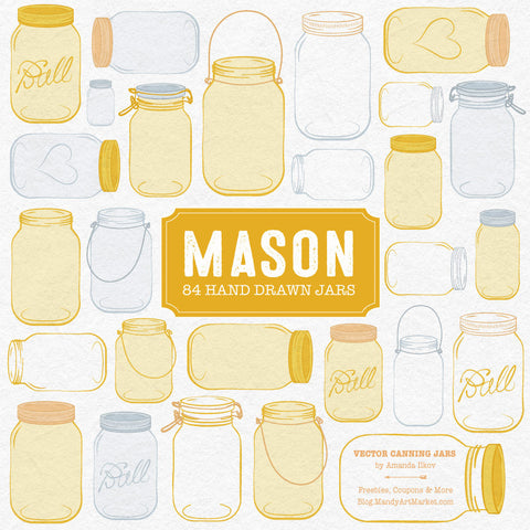 Mason Jar Clipart in Sunshine Yellow by Amanda Ilkov - Mandy Art Market - 2