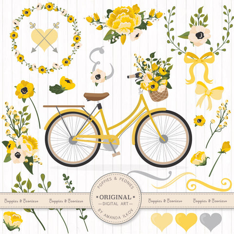 Floral Bicycle Set in Sunshine Yellow by Amanda Ilkov - Mandy Art Market - 1