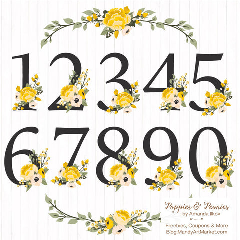 Floral Numbers in Sunshine Yellow by Amanda Ilkov - Mandy Art Market - 1
