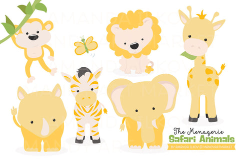 Safari Animals Clipart in Sunshine Yellow by Amanda Ilkov - Mandy Art Market - 1