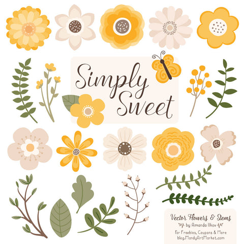 Cute Flowers Clipart in Sunshine by Amanda Ilkov - Mandy Art Market - 1