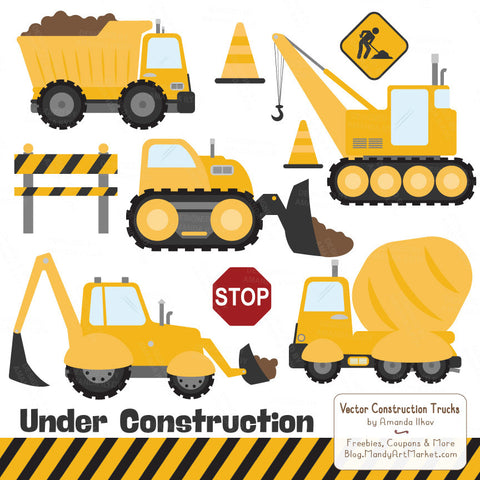 Construction Truck Clipart in Sunshine by Amanda Ilkov - Mandy Art Market - 1