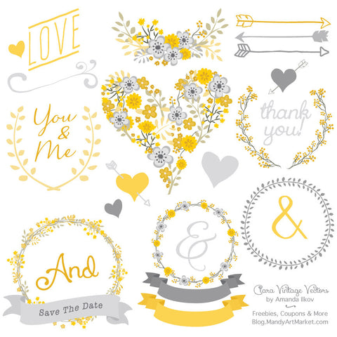 Floral Heart Clipart in Sunshine Yellow by Amanda Ilkov - Mandy Art Market - 1