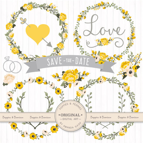 Floral Wreaths & Banners in Sunshine Yellow by Amanda Ilkov - Mandy Art Market - 1