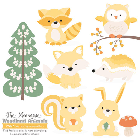 Woodland Animals Clipart in Sunshine by Amanda Ilkov - Mandy Art Market - 1