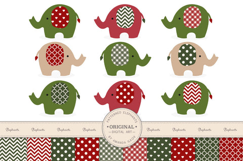 Elephant Clipart & Digital Papers in Traditional Christmas by Amanda Ilkov - Mandy Art Market
