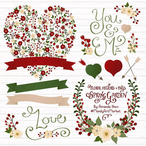 Floral Heart Clipart in Traditional Christmas by Amanda Ilkov - Mandy Art Market - 1