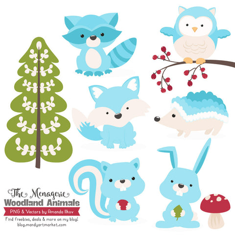 Woodland Animals Clipart in Tropical Blue by Amanda Ilkov - Mandy Art Market - 1