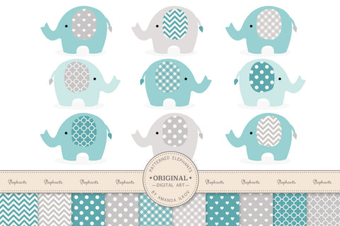 Elephant Clipart & Digital Papers in Vintage Blue by Amanda Ilkov - Mandy Art Market