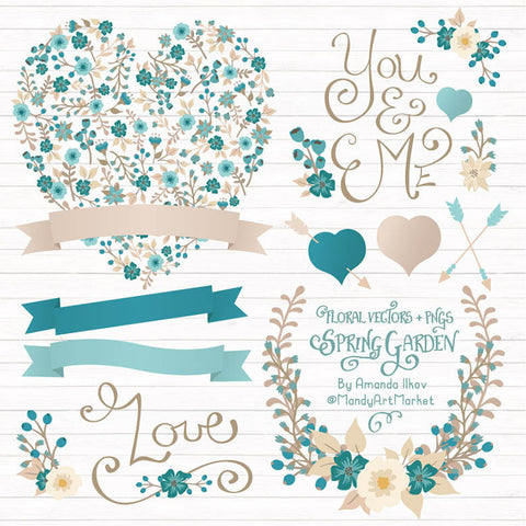 Floral Heart Clipart in Vintage Blue by Amanda Ilkov - Mandy Art Market - 1