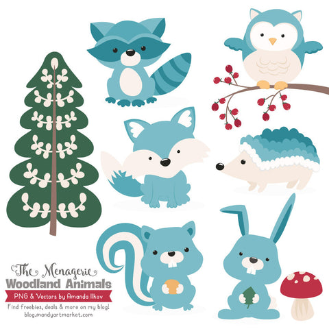 Woodland Animals Clipart in Vintage Blue by Amanda Ilkov - Mandy Art Market - 1