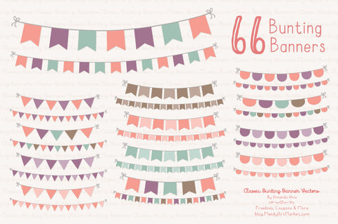 Classic Bunting Banner Clipart in Vintage Girl by Amanda Ilkov - Mandy Art Market - 1
