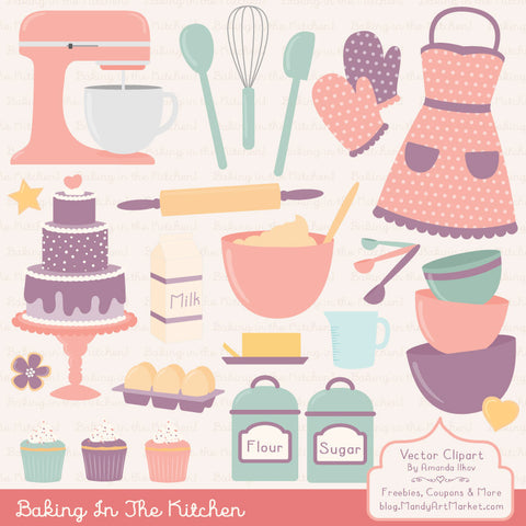 Baking Clipart in Vintage Pink by Amanda Ilkov - Mandy Art Market - 1