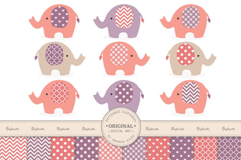 Elephant Clipart & Digital Papers in Vintage Girl by Amanda Ilkov - Mandy Art Market