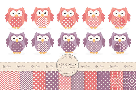 Owl Clipart & Digital Papers in Vintage Girl by Amanda Ilkov - Mandy Art Market - 1