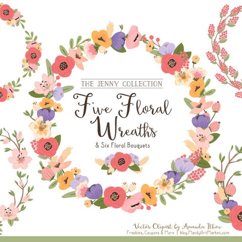 Round Floral Wreaths Clipart in Wildflowers by Amanda Ilkov - Mandy Art Market - 1