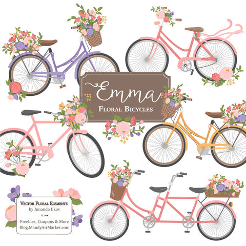 Floral Bicycles Clipart in Wildflowers by Amanda Ilkov - Mandy Art Market - 1