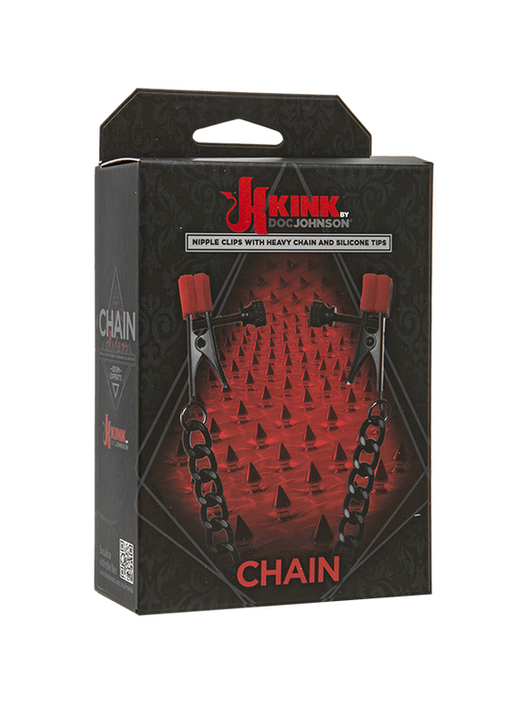 Chain Nipple Clips With Heavy Chain And Silicone Tips Black And Red 16.5 Inch