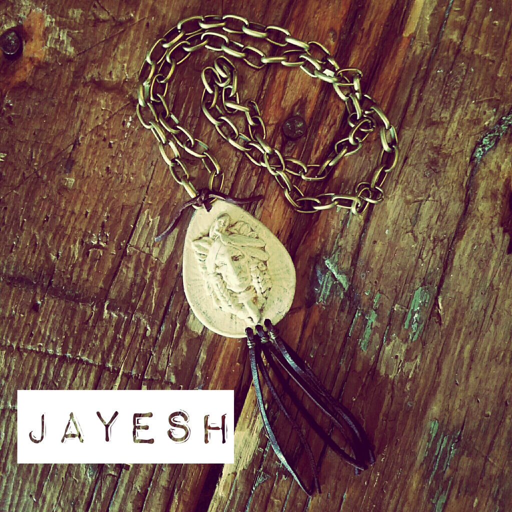 JAYESH INDIAN NECKLACE WITH LEATHER TASSEL
