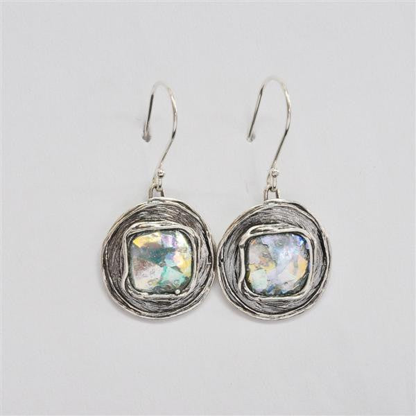 Square Within Round Patina Roman Glass Earrings
