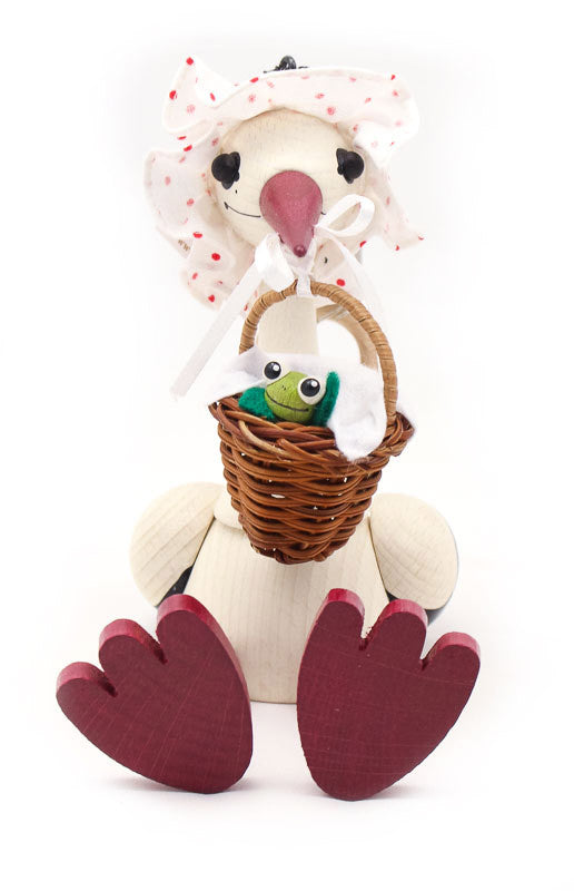 Stork With Baby Frog Handcrafted Wooden Jumpie