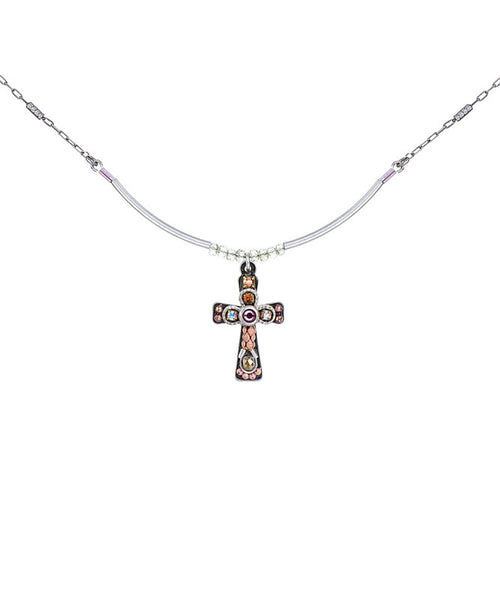 Pink Small Cross Necklace by Ayala Bar